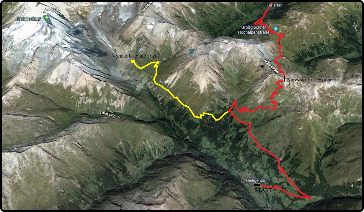 alpy-grossglockner-mapa-priesmyku-rakusko