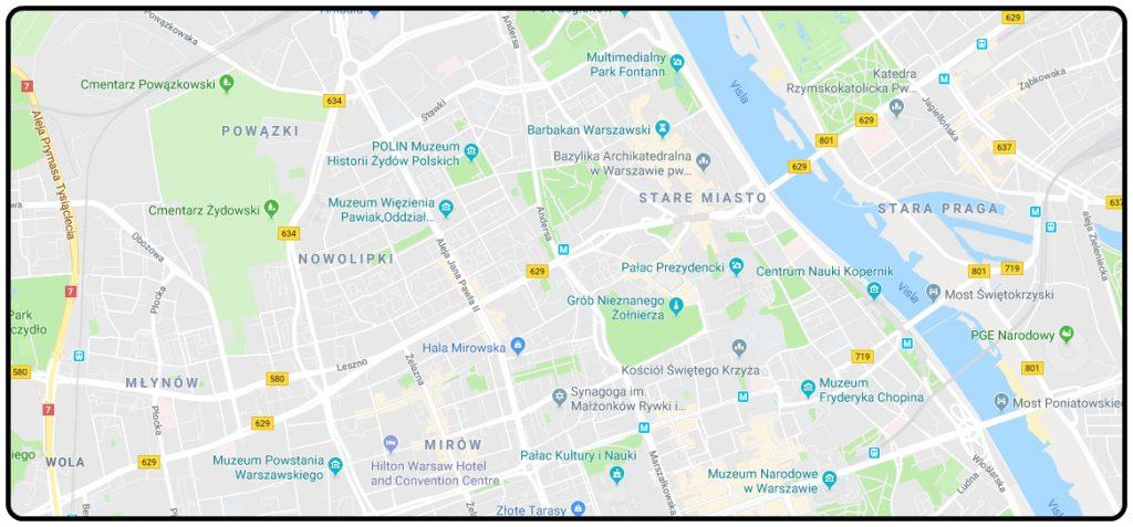 mapa-varsava-letecky-pohlad-informacie