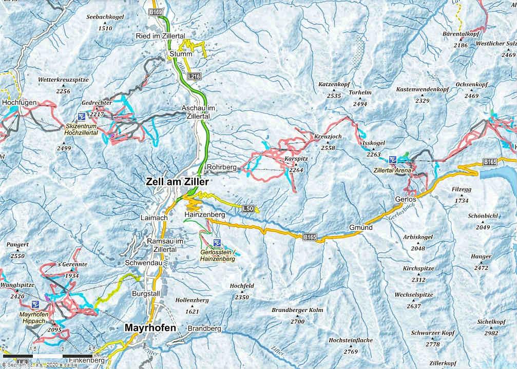 mapa-lyziarskeho-strediska-zillertal-rakusko